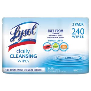 Lysol Brand Daily Cleansing Wipes, 8 x 7, White, 3 Canisters (RAC99119PK)
