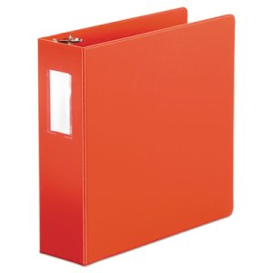 "Suede Finish Vinyl Round Ring Binder, Label Holder, 3"" Capacity, Red (UNV35413)"