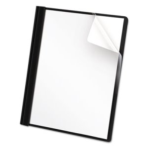 Universal Clear Front Report Cover, Letter Size, Black, 25 Covers (UNV57120)