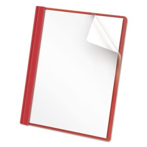 Universal Clear Front Report Cover, Letter, Red, 25 Covers (UNV57123)
