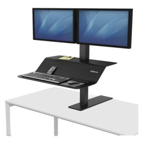 Fellowes Lotus VE Sit-Stand Dual Workstation, Black, Each (FEL8082001)