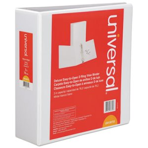 "Universal D-Ring View Binder, 3"" Capacity, 8-1/2 x 11, White (UNV30752)"