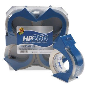 "Duck HP260 Packaging Tape w/Dispenser, 1.88"" x 60 yd, 3"" Core, 4/Pk (DUC0007725)"