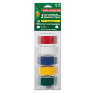 "Duck Electrical Tape, 3/4"" x 12 ft, 1"" Core, Assorted, 5/Pack (DUC280303)"
