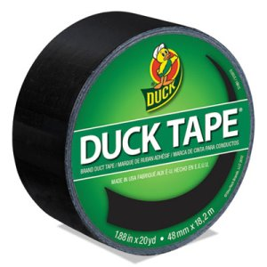 "Duck Colored Duct Tape, 1.88"" x 20 yds, 3"" Core, Black (DUC1265013RL)"
