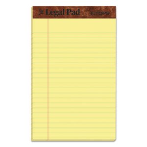 Tops Legal Pad Jr. Ruled Perforated Pads, 5 x 8, Canary, Dozen Pads (TOP7501)