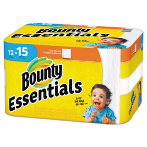 Bounty Essentials Kitchen 2-Ply Paper Towel Rolls, 12 Rolls (PGC75719)
