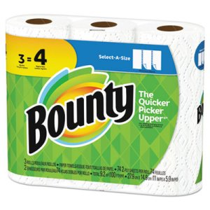 Bounty Select-a-Size Paper Towels, 2-Ply, 5.9 x 11, White, 3 Rolls (PGC76225PK)