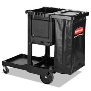 Rubbermaid Executive Janitorial Cleaning Cart, Black (RCP1861430)