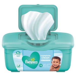 Pampers Complete Clean Baby Wipes, 1 Ply, Baby Fresh, 72 Wipes/Tub (PGC75476EA)