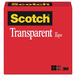 "Scotch Transparent Tape, 1/2"" x 1296"", 1"" Core, Clear (MMM600121296)"