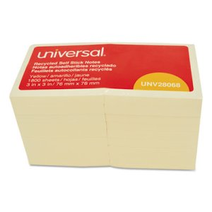 Universal Recycled Sticky Notes, 3 X 3, Yel; 18 100-Sheet Pads/Pack (UNV28068)