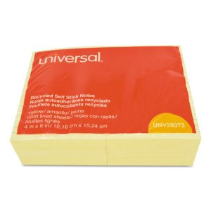 Universal Recycled Sticky Notes, 4 X 6, Lined, Yellow, 12 Pads (UNV28073)