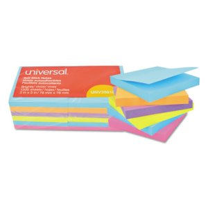 Universal Self-Stick Bright Pads, 3 x 3, 4 Colors, 12 100-Sheet Pads (UNV35610)