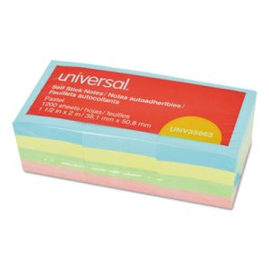 Universal Self-Stick Notes, 1-1/2 x 2, 4 Pastel Colors, 12 Pads (UNV35663)