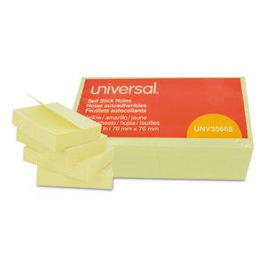 Universal Standard Self-Stick Note Pads, 3 x 3, Yellow, 12 Pads (UNV35668)