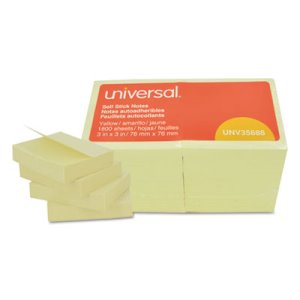 Universal Self-Stick Notes, 3 x 3, Yellow, 18 100-Sheet Pads/Pack (UNV35688)