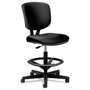 Hon Volt Series Adjustable Task Stool, Black Leather (HON5705SB11T)
