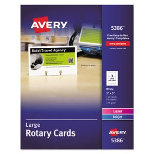 Avery Laser/Inkjet Rotary Cards, 3 x 5, 3 Cards/Sheet, 150 Cards/Box (AVE5386)