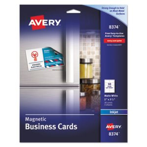 Avery Magnetic Business Cards, 2 x 3 1/2, White, 10/Sheet, 30/Pack (AVE8374)