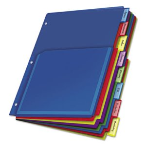 Cardinal Poly Expanding Pocket Index Dividers, Assorted, 8 Tabs (CRD84013)