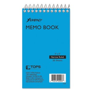 Ampad Wirebound Pocket Memo Book, Narrow Rule, 3 x 5, 50 Sheets/Pad (TOP25093)