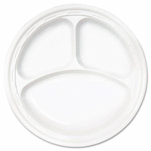"Impact 10-1/4"" Plastic Plates with 3 Compartments, 500 Plates (DCC 10CPWF)"