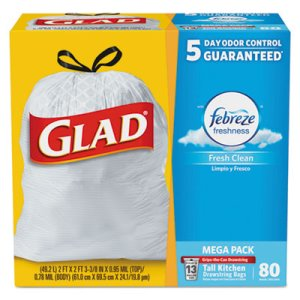 Glad 78899 13 Gallon White Garbage Bags, 24x27, 0.95 mil, 80 Bags (CLO78899BX)