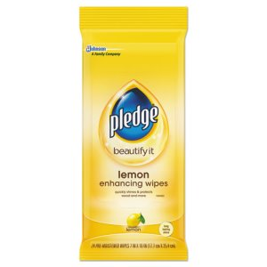 Pledge Lemon Scent Wet Wipes, Cloth, 7 x 10, White, 24/Pack, 12 Packs/Carton (SJN319250)