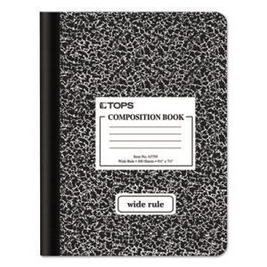 Composition Book w/Hard Cover, Wide Rule, White, 100 Sheets (TOP63795)
