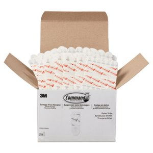 Command Poster Strips, Removable, 1lb Cap., White,256/Pack(MMM17024S256NA)