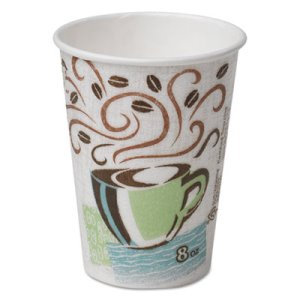 Dixie Hot Cups, Paper, 8 oz., Coffee Dreams Design, 500/Carton (DXE5338DX)