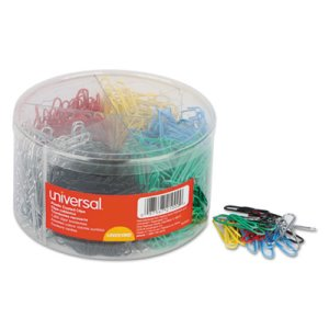 Universal Vinyl-Coated Wire Paper Clips, Assorted Colors, 1000 Clips (UNV21000)
