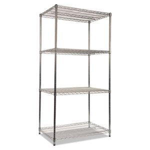 Alera Wire Shelving Kit, 4 Shelves, 36w x 24d x 72h, Silver (ALESW503624SR)