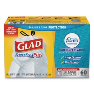 Glad ForceFlexPlus Tall Kitchen Drawstring Trash Bags, 4 Boxes (CLO78789)