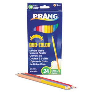 Prang Duo-Color Colored Pencil Sets, 3 mm, Assorted Colors, 12/Set (DIX22112)