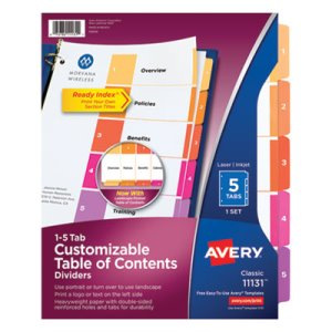 Avery Ready Index Contemporary Table of Contents Divider, 1-5, Letter (AVE11131)