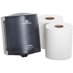 SofPull Center-Pull Paper Towel Dispenser Starter Kit, Smoke (GPC58205)