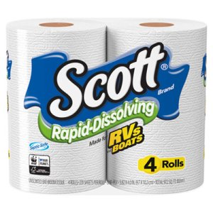 Scott Rapid-Dissolving Toilet Paper, Bath Tissue, 1-Ply, White, 231 Sheets (KCC47617)