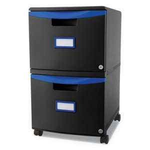 Storex Two-Drawer Mobile Filing Cabinet, Black/Blue (STX61314U01C)
