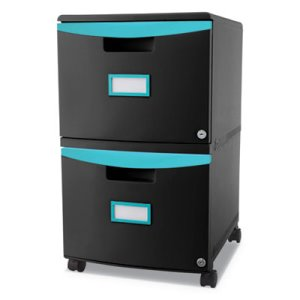 Storex Two-Drawer Mobile Filing Cabinet, Black/Teal (STX61315U01C)