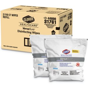 Clorox Disinfectant Wipes, 1-Ply, 12 x 12, White, 2 Pouches (CLO31761)
