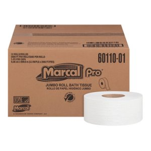 "Marcal Pro Bathroom Tissue, 1-Ply, White, 3.3"" x 2000 ft, 12/Carton (MRC60110)"