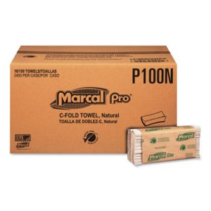 Marcal Pro Folded Paper Towels, Natural, 16 Packs of Paper Towels (MRCP100N)