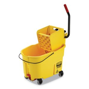 Rubbermaid WaveBrake 44 qt Bucket/Side Press Wringer, Yellow (RCPFG618688YEL)