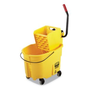Rubbermaid Commercial WaveBrake 2.0 Bucket/Wringer Combos, Side-Press, 35 qt, Plastic, Yellow (RCPFG758088YEL)