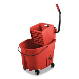 Rubbermaid Commercial WaveBrake 2.0 Bucket/Wringer Combos, Side-Press, 35 qt, Plastic, Red (RCPFG758888RED)