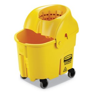 Rubbermaid WaveBrake 35 qt Bucket/Down Press Wringer, Yellow (RCPFG759088YEL)