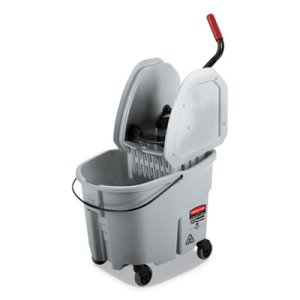WaveBrake 2.0 Bucket/Wringer Combo, Down-Press, 8.75 Gallon, Gray (RCPFG1863899)