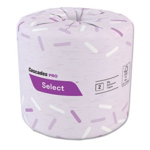 Cascades Pro Select Standard Bath Tissue, 2-Ply, White, 500 Sheets/Roll, 96 Rolls/Carton (CSDB166)